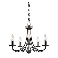 Twisted Arms 5 Lamp Black Chandelier