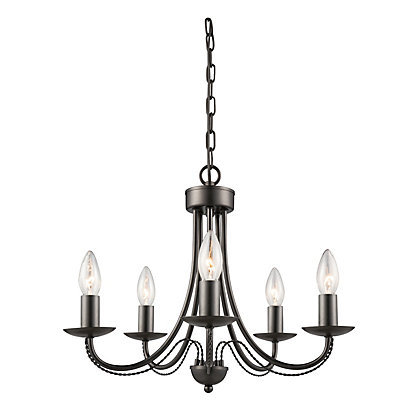 Image for Twisted Arms 5 Lamp Black Chandelier from StoreName