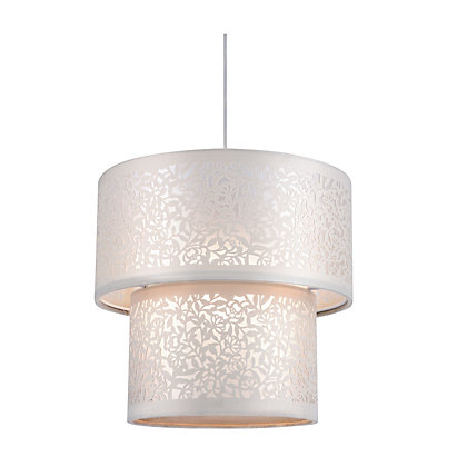 Image for 2 Tier Floral Cut Laser Lamp Shade - Cream from StoreName