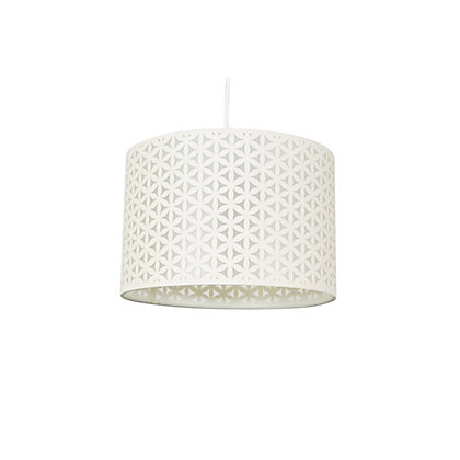 Image for Flower Print Laser Cut Lamp Shade - Cream from StoreName