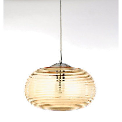 Image for Champagne Ribbed Glass Pendant Light from StoreName