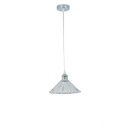 Image for Single Ribbed Glass Pendant Light from StoreName