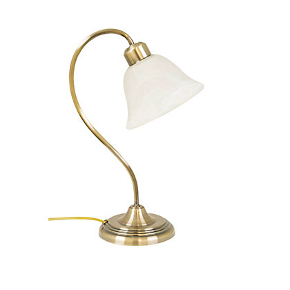Image for Martha Glass Shade Antique Brass Table Lamp from StoreName