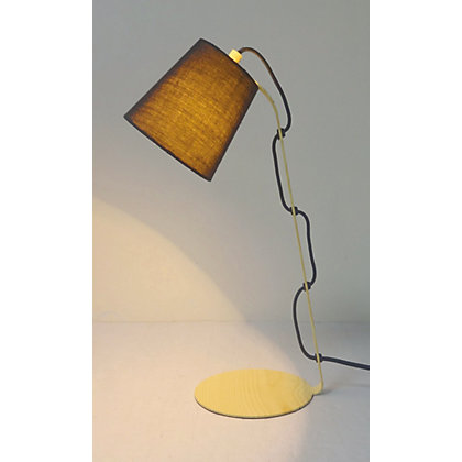 Image for Wooden Base Exposed Cord Desk Lamp from StoreName