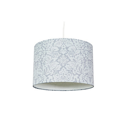 Image for Floral Damask Print Lamp Shade - Grey from StoreName