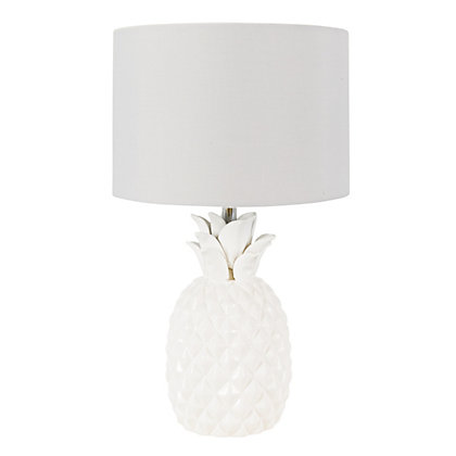Image for Pineapple White Ceramic Table Lamp from StoreName
