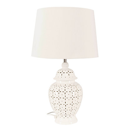 Image for Selma 2 Light Cut Out Ceramic Table Lamp from StoreName