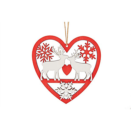 Image for Homespun Kissing Reindeers Tree Decoration from StoreName
