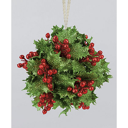 Image for Glitter Holly and Berries Tree Decoration from StoreName