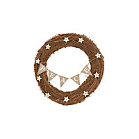 Rattan Wreath with Peace Bunting