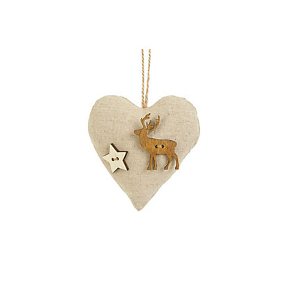 Image for Cushion Heart Decoration with Wooden Reindeer from StoreName