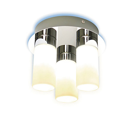 Image for Frosted Glass Cylinder 3 Lamp Bathroom Ceiling Light from StoreName