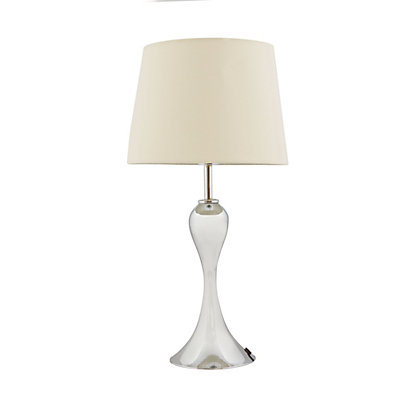 Image for Satin Nickel Shaped Table Lamp - Cream Shade from StoreName