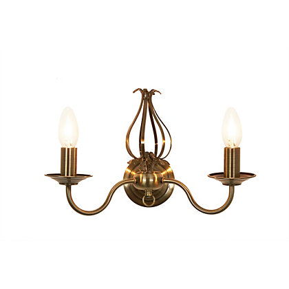 Image for Piper 2 Light Antique Brass Wall Light from StoreName