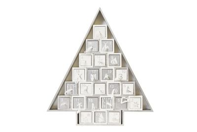 Image for Silver and White Wooden Tree Advent Calendar from StoreName