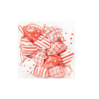 Image for Red and White Metal Hanging Hearts from StoreName