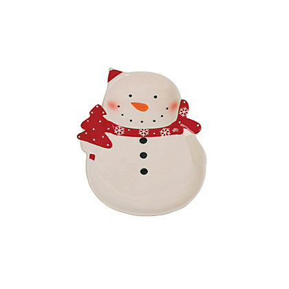 Image for Large Red and White Snowman Plate from StoreName