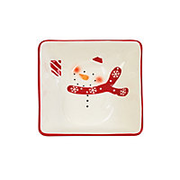 Red and White Snowman Bowl