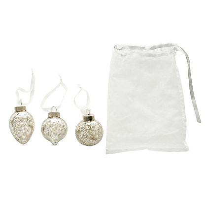 Image for Mercury Ribbed Glass Baubles 3 pack with Bag from StoreName