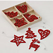 Red Felt Tree Decorations in Wooden Box 12 pack