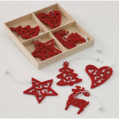 Image for Red Felt Tree Decorations in Wooden Box 12 pack from StoreName