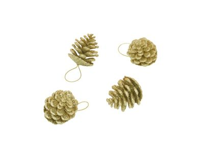 Image for Gold Glitter Pinecones 12pk from StoreName