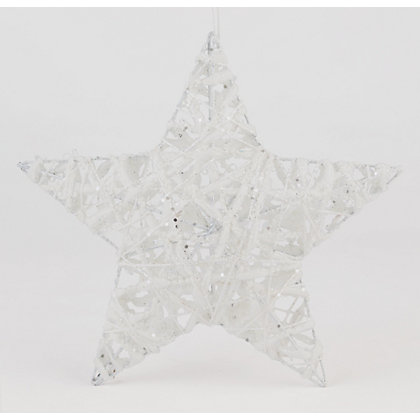 Image for White Glitter Wire Cotton Star from StoreName