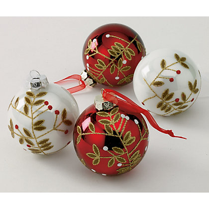 Image for Holly and Ivy Glass Baubles 4 pack from StoreName