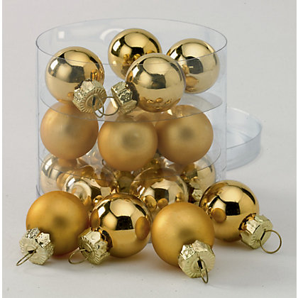Image for Gold Mini Glass Baubles 18 pack from StoreName