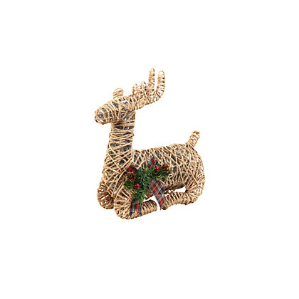 Image for Sitting Glitter Reindeer with Bow from StoreName