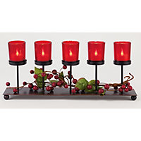 Holly and Ivy Metal 5 Candle Holder