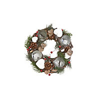 Wild Berry Wooden Candle Holder Christmas Wreath