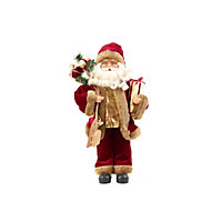 45cm Standing Santa with Bag and Sled