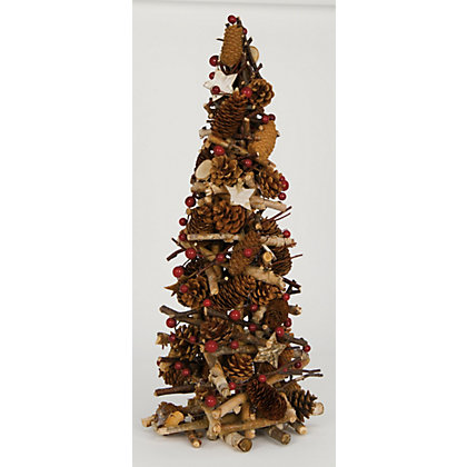 Image for Wooden Log Tree with Berries & Pinecones from StoreName