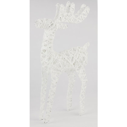 Image for White Glitter Cotton & Wire Reindeer from StoreName