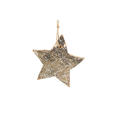 Image for Wooden Bark Heart or Star with Glitter from StoreName