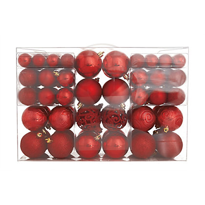 Image for Red Shatterproof Assorted Baubles 100 pack from StoreName