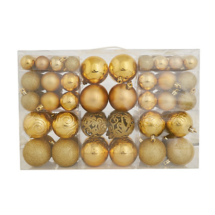 Image for Gold Shatterproof Assorted Baubles 100 pack from StoreName
