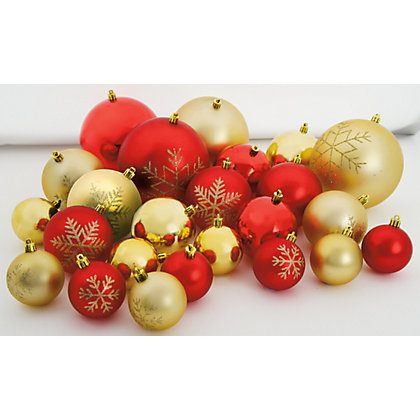 Image for Red & Gold Assorted Baubles 60 pack from StoreName