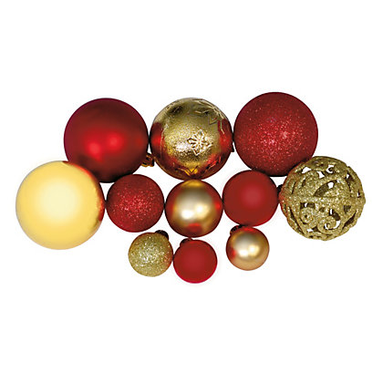 Image for Red & Gold Shatterproof Assorted Baubles 100 pack from StoreName