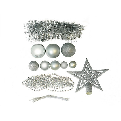 Image for Silver Shatterproof Assorted Baubles 71 pack from StoreName
