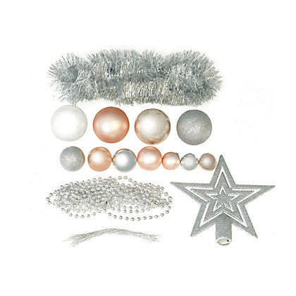 Image for Pink & Silver Shatterproof Assorted Baubles 71 pack from StoreName