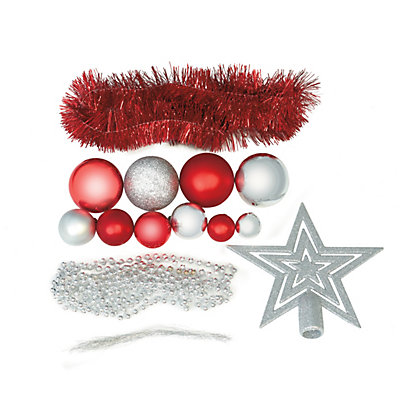 Image for Red & Silver Shatterproof Assorted Baubles 71 pack from StoreName