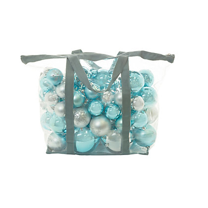 Image for Blue & Silver Assorted Baubles 60 pack from StoreName