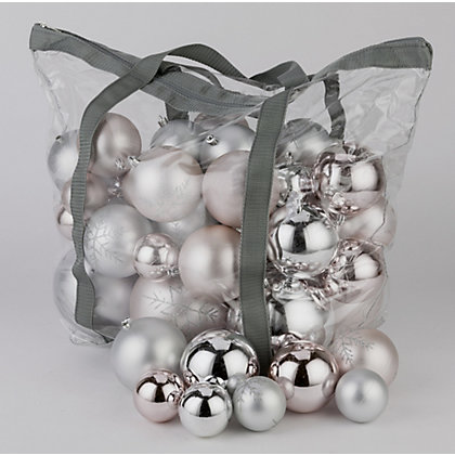 Image for Pink & Silver Assorted Baubles 60 pack from StoreName