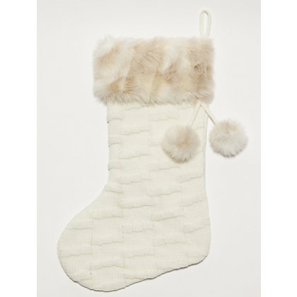 Image for White Knitted Stocking with Fur Trim from StoreName