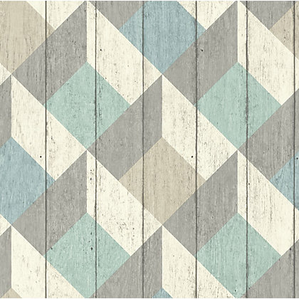 Image for Geometric Wood Green & Blue Wallpaper from StoreName