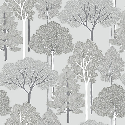 Image for Ellwood Trees Grey & Silver Wallpaper from StoreName