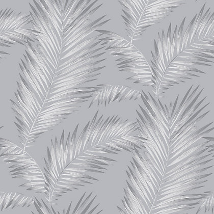 Image for Ardita Silver Palm Leaf Wallpaper from StoreName