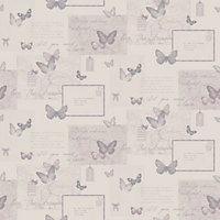 Retro Collage Montage Plum Wallpaper